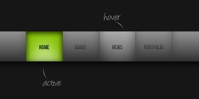 Free PSD: Dark Horizontal Navigation Menu